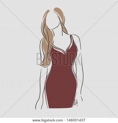 Beautiful young women in a fashion evening red dress. Vector illustration