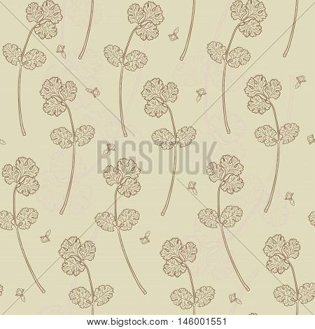 Vector Seamless Texture With Coriander And Clove. Natural Spices. Compilation Of Vector Sketches. Ki