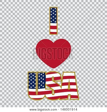 Inscription I love the USA on a plaid background. Vector illustration