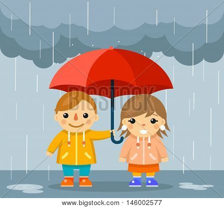 Cute boy and girl with umbrella standing under rain. Standing happy couple under parasol, vector illustration