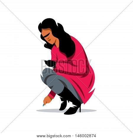 Woman crouching preparing to paint. Isolated on a White Background