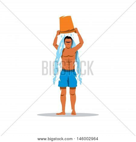 Man pours cold water. Isolated on a white background
