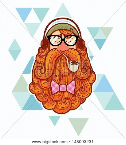 Cartoon portrait of hipster over abstract background.