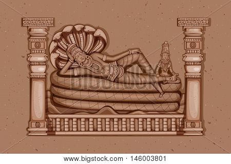 Vector design of Vintage statue of Indian Lord Vishnu sculpture engraved on stone