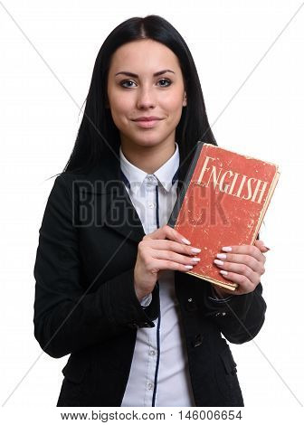 Pretty Student Holds An English Textbook