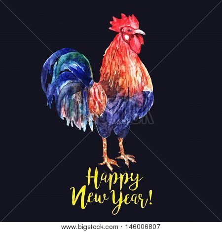 Vector watercolor fire cock on dark blue background with yellow text Happy New Year!. Chinese calendar Zodiac for 2017 New Year of rooster. Isolated bird and text in watercolor.