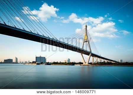 Bhumibol bridge at evening with nice sky, Bangkok Thailand