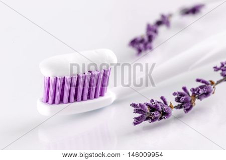 sqweezed toothpaste and toothbrush with lavander on the white background.