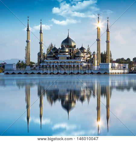 Closeup Crystal mosque in Kuala Terengganu Malaysia
