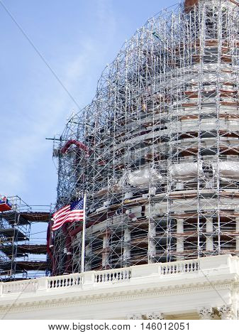 scaffolding on Capitol Hill dome during the day