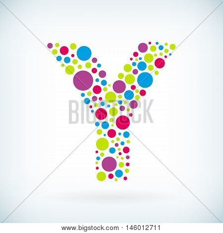 Modern letter Y circle stroke colorful symbol icon. Vector editable design for print.