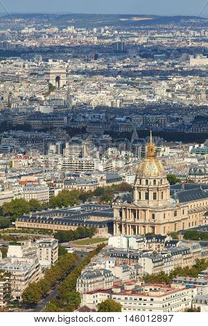 Paris skyline shot from the top of Montparnasse Tower Les Invalides Quarter is seen