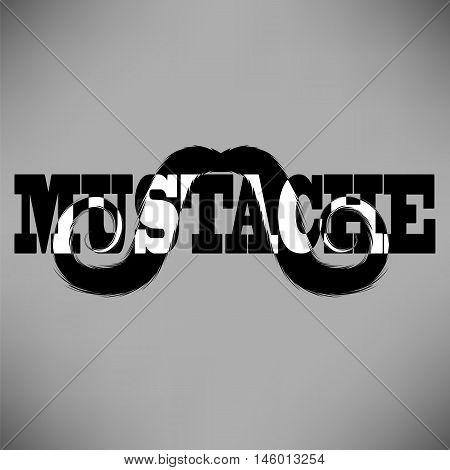 Mustache Silhouette Icon Isolated on Grey Background.
