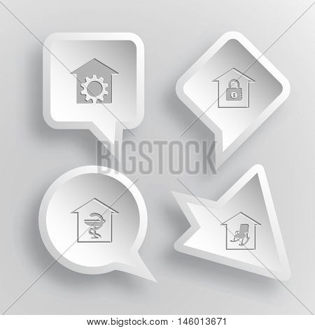4 images: repair shop, bank, pharmacy, home comfort. Home set. Paper stickers. Vector illustration icons.