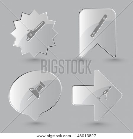 4 images: gasoline-powered saw, spirit level, push pin, hand drill. Angularly set. Glass buttons on gray background. Vector icons.