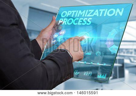 Internet. Business. Technology Concept. Businessman Presses A Button Optimization Process On The Vir