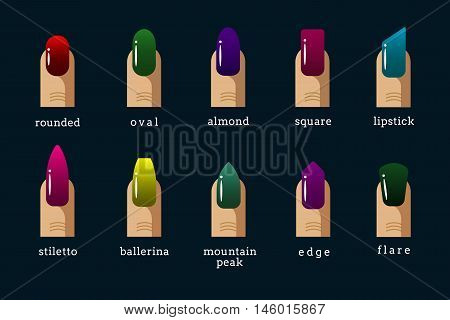 Different nail shapes and nail polish colors icons. Rounded and oval form, almond and square, vector illustration