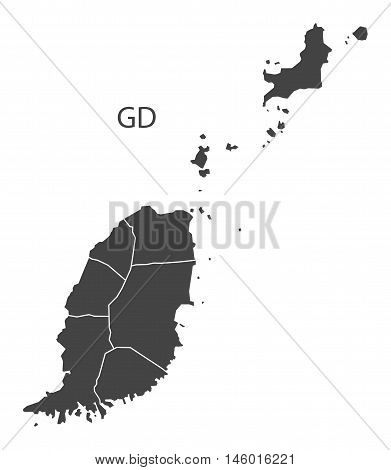 Grenada grey map with parishes isolated vector high res