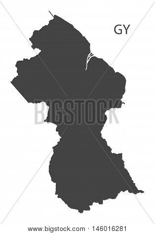 Guyana grey map isolated vector high res