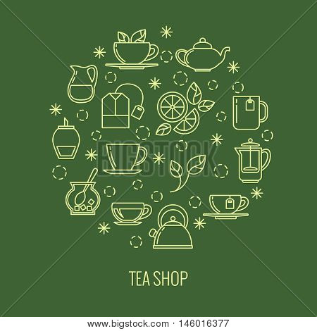 Green tea outline icons in circle design. trendy thin line logo for tea shop. Brew herbal tea, vector illustration