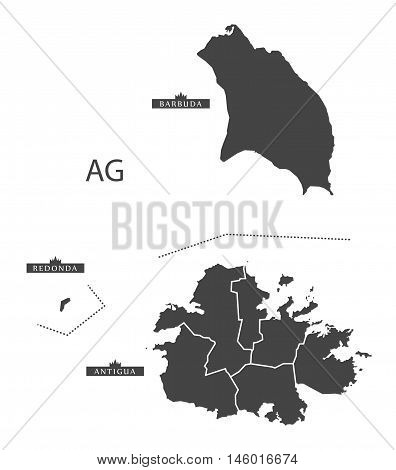 Antigua and Barbuda grey map detailed  isolated vector high res