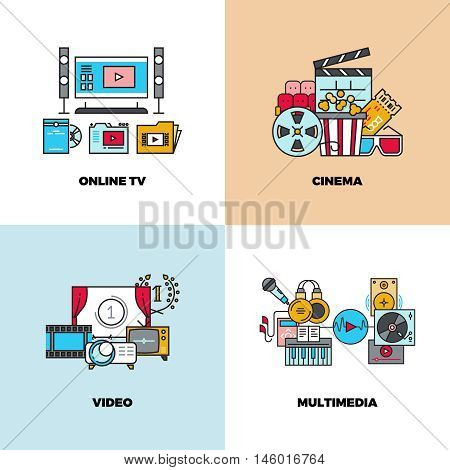 Entertainment, cinema, movie, video vector concept backgrounds. Online tv and multimedia illustration
