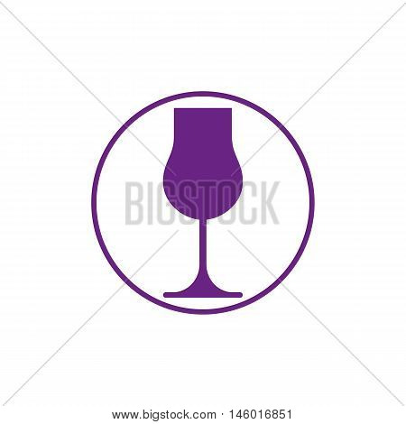 Winery theme classic wine goblet isolated on white. Wine degustation conceptual symbol design element.