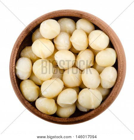 Macadamia nuts in a wooden bowl on white background. Edible seeds without shells. Isolated macro food photo close up from above.