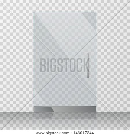 Transparent clear glass door isolated on transparent checkered background. Mock up entrance door for shop or fashion boutique. Vector illustration