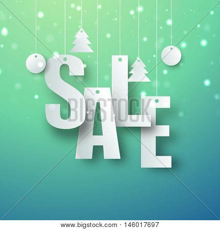 Sale Poster, Banner design with hanging paper cut-out in Xmas trees and Xmas balls shape.