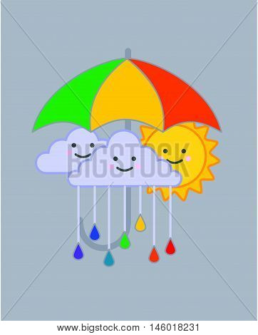 Smiling sun and clouds under colorful umbrella vector illustration, Rainy clouds and rain drops in rainbow colors