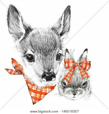 Cute deer and rabbit. pencil sketch of fawn. Animal illustration. T-shirt design.