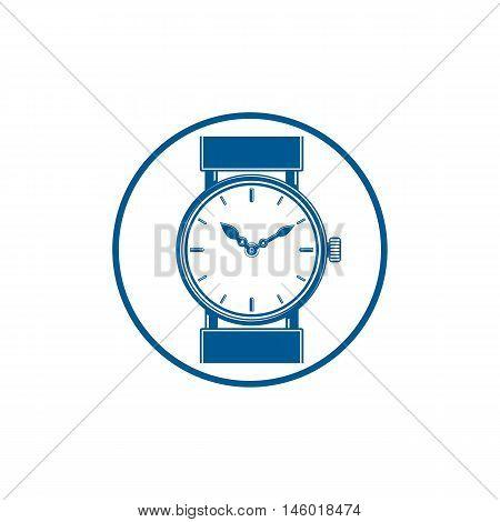 Simple wristwatch graphic illustration classic hour hand symbol. Time management idea design element.