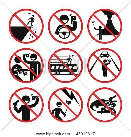 Death by selfie vector infographic. Ban selfie in dangerous places illustration