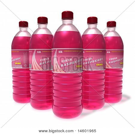 Set of raspberry drinks in plastic bottles