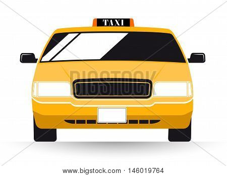New York Yellow Taxi Cab on white background