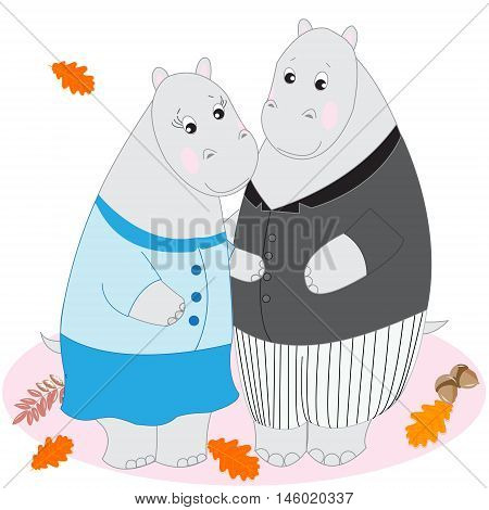 Cute cartoon animals Doodle drawing hippos love and tenderness vector illustration