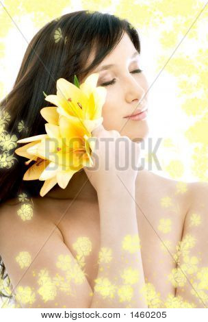 Brunette With Yellow Flowers In Spa