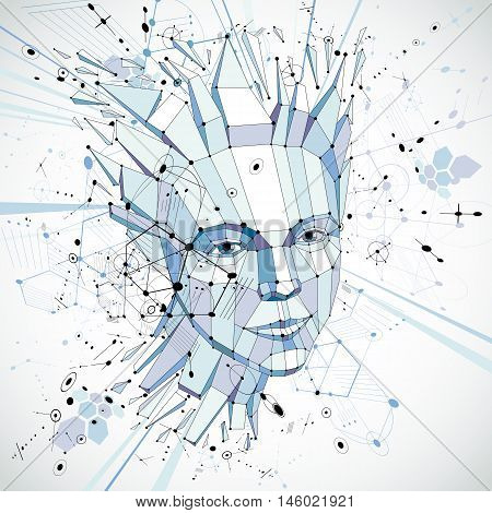 Futuristic 3d vector background made using Bauhaus elements. Head of woman exploding with thoughts created in low poly style