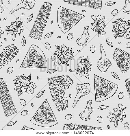 Seamless Texture With Italy Icons Doodle Hand Drawn Vector Illustration