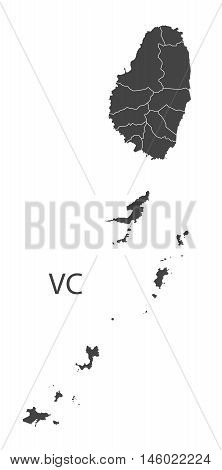 St, Vincent and the Grenadines grey map with regions isolated vector high res