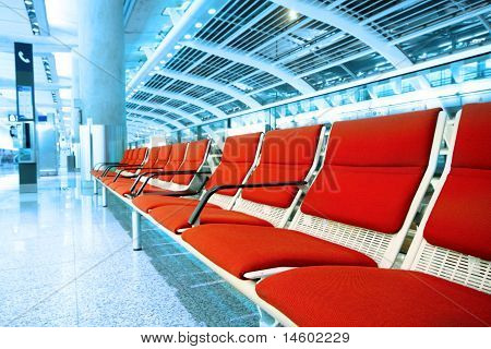 Long Red Chair In Building