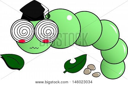Doctor natural green worm wearing graduation cap.