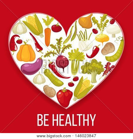 Be Healthy. Healthy life heart isolated on red background. Healthy vegitables diet advertisement poster with heart shaped assortment of pumpkin , tomato, potato, eggplant, broccoli, carrot. Cartoon style vector illustration.