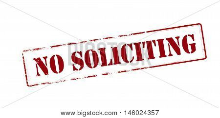 Rubber stamp with text no soliciting inside vector illustration