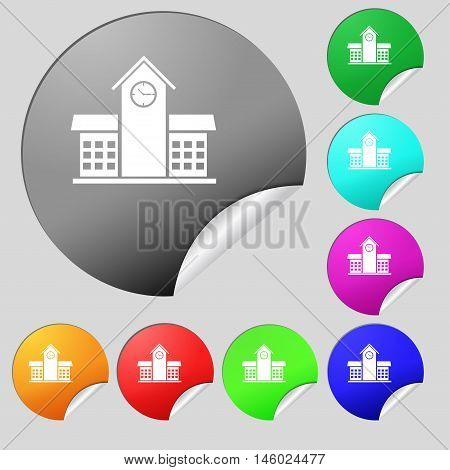 School Professional Icon Sign. Set Of Eight Multi Colored Round Buttons, Stickers. Vector