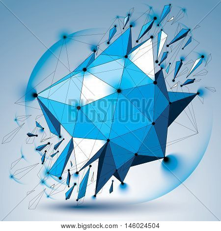 Vector Dimensional Wireframe Blue Object With Radiance Circles, Spherical Demolished Shape With Part