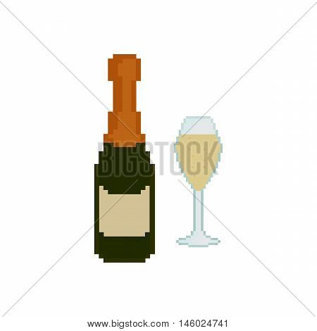 Pixel icon. Glass of champagne. Champagne bottle on the white background