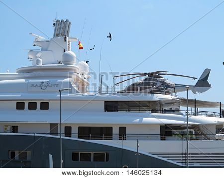 11.07.2016 Barcelona Spain: Detail of luxury large super yacht in the port
