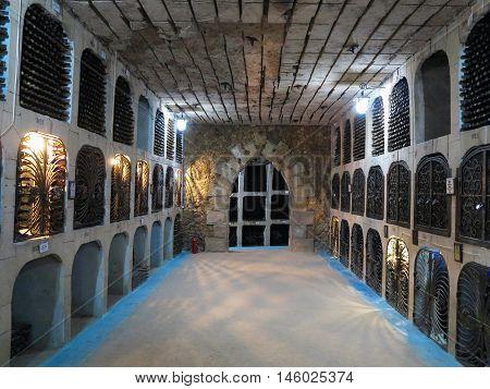 27.08.2016 Milestii Mici Moldova: Detail of the largest wine cellars in the world.